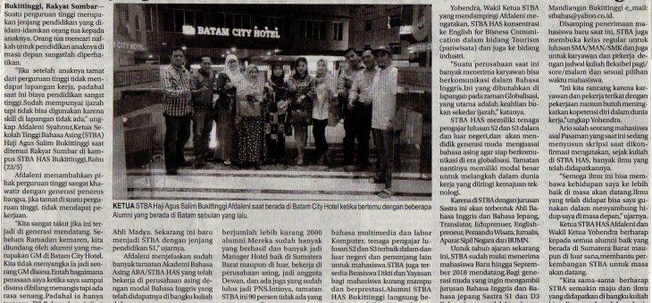 Pertemuan Ketua STBA HAS dengan Alumni Sektor Batam Hasilkan MoU